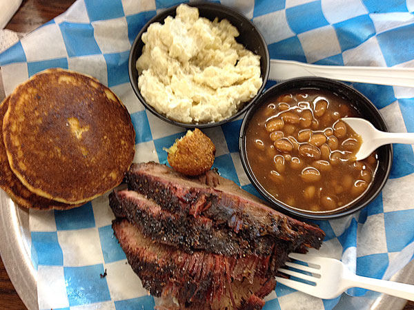 Tennessee BBQ typically means pork, but being from texas, I enjoy a brisket plate now and then.