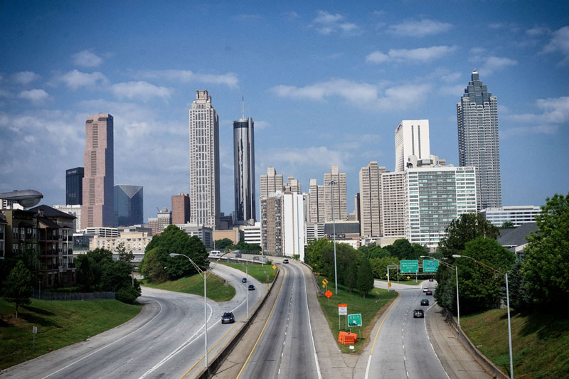 View of the downtown Atlanta from the Jackson Street Bridge
