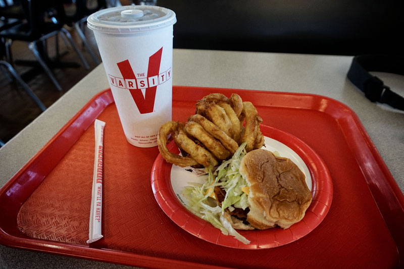 Burger and onion rings at The Varsity