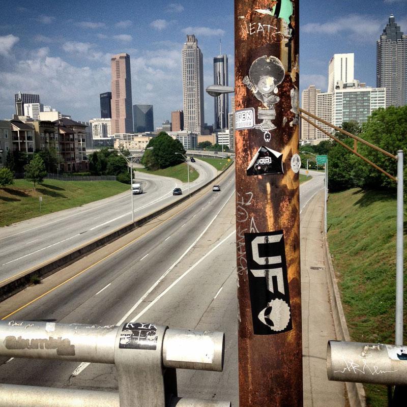 Sticker overload on the Jackson Street Bridge