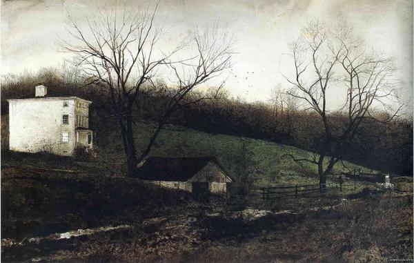 A bleak landscape watercolor by painter Andrew Wyeth