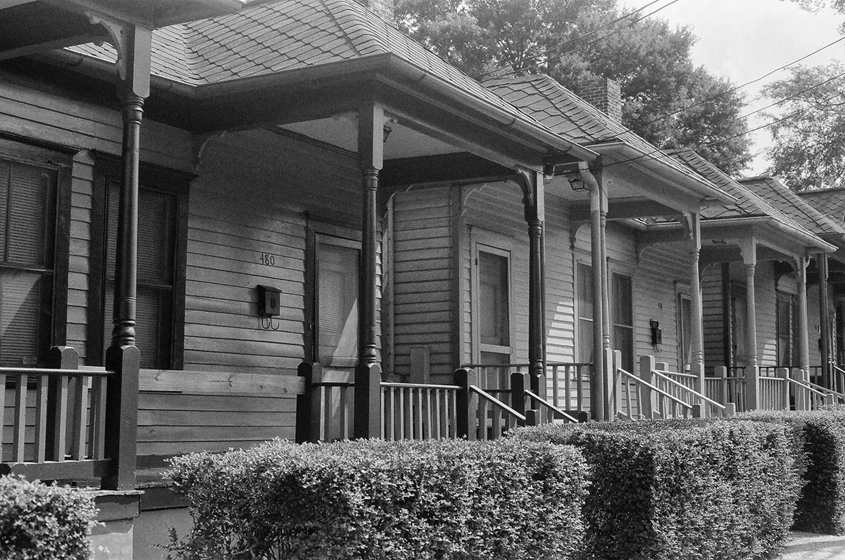 Shotgun homes in the Sweet Auburn neighborhood where MLK was born and where his Ebenezer Baptist Church is located.