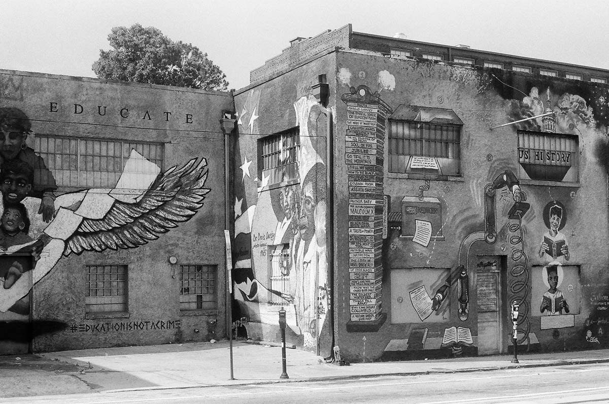 Murals on an old building one block from the Ebenezer Baptist Church building.