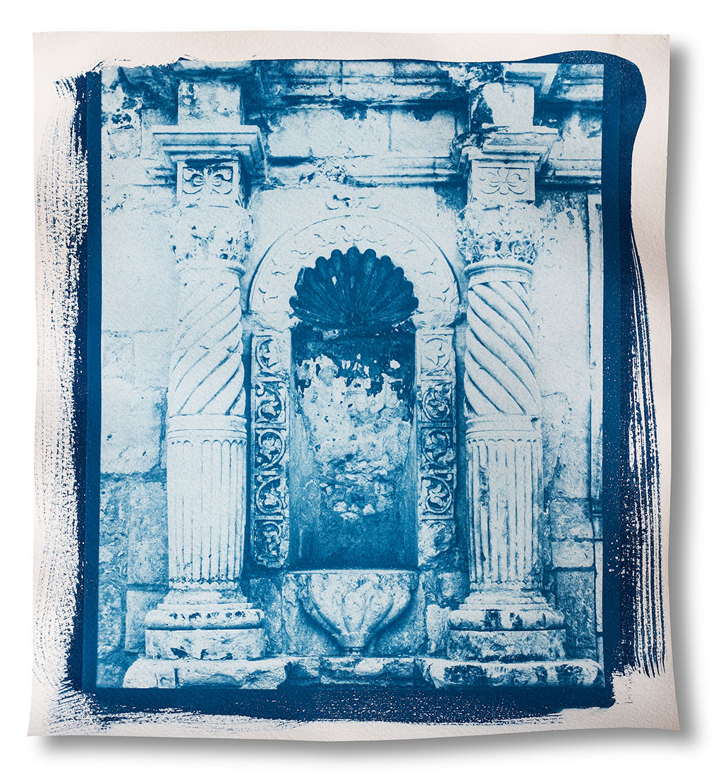 A detail of the front of the Alamo in San Antonio, untoned cyanotype print