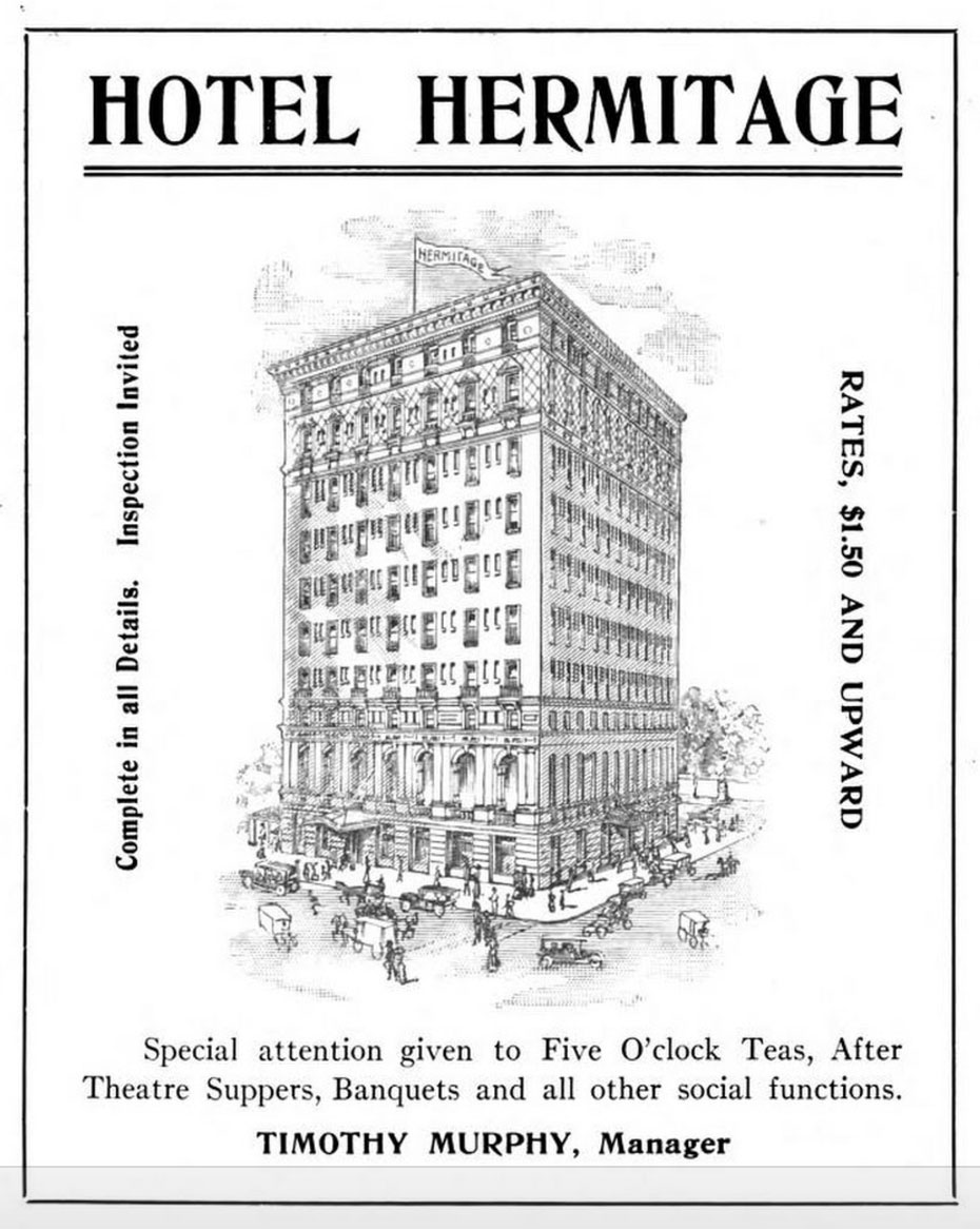 An illustrated 1911 ad for Nashville's fabulous Hermitage Hotel.