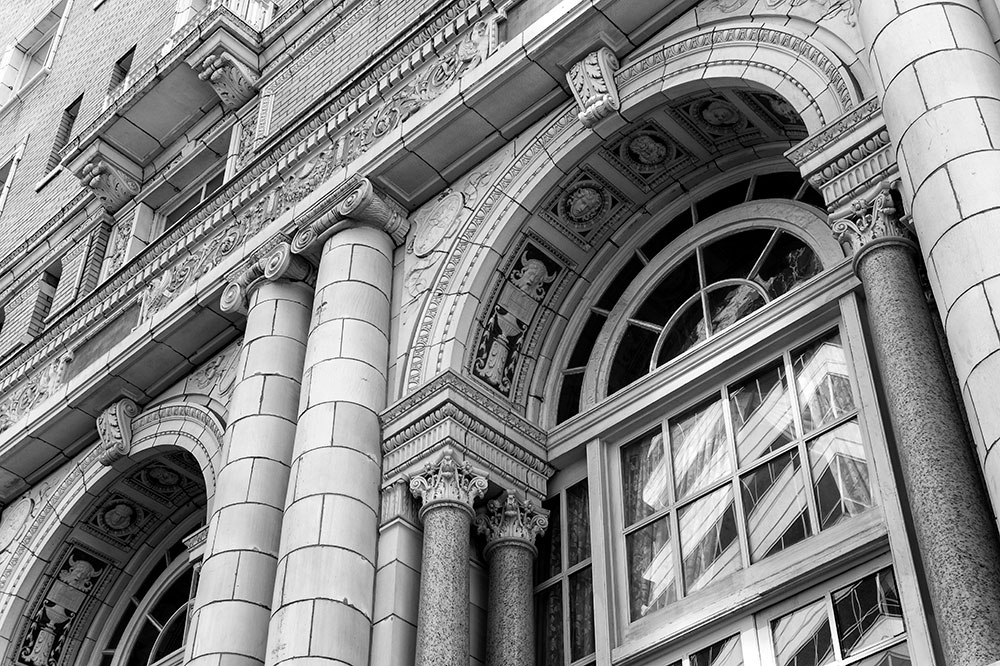Detailed black and white photogrpah of Nashville's beautiful Hermitage Hotel
