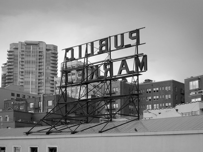 My photograph of the Public Market sign in reverse. Click the photograph to buy a fine art print.