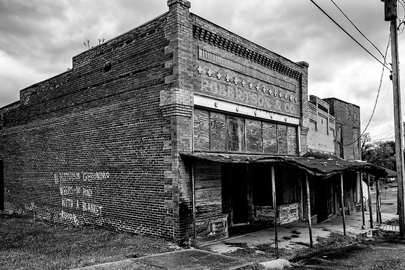 The old abandoned downtown of Adams, Tennessee