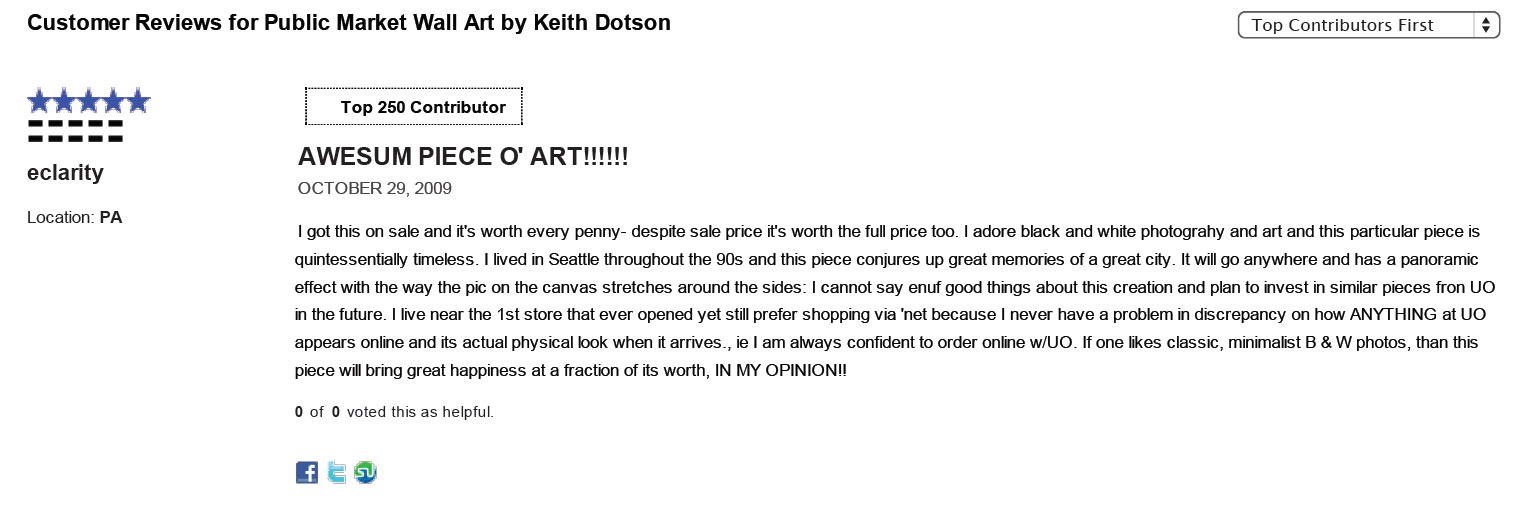 A sample review for my Public Market, Seattle canvas in 2009.