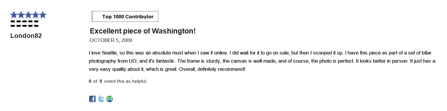 Another review of my work on the Urban Outfitters website in 2009