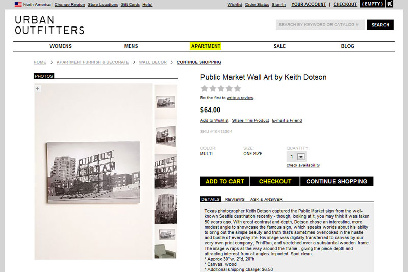 Screen shot of my Public Market canvas as it appeared on the UO website in 2009.