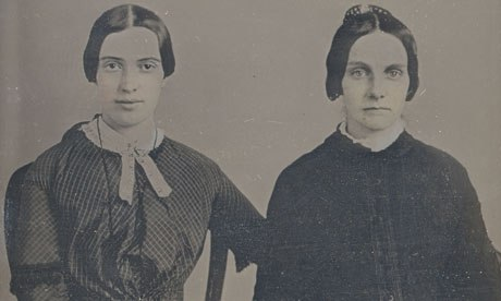 Newly discovered 1859 photograph of Emily Dickinson, left, pictured with a friend believed to be in mourning attire. Amherst College Archives & Special Collection.