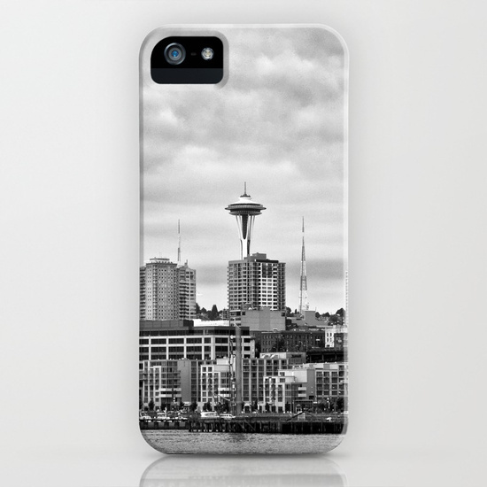 Seattle Waterfront iPhone case with black and white photography by Keith Dotson