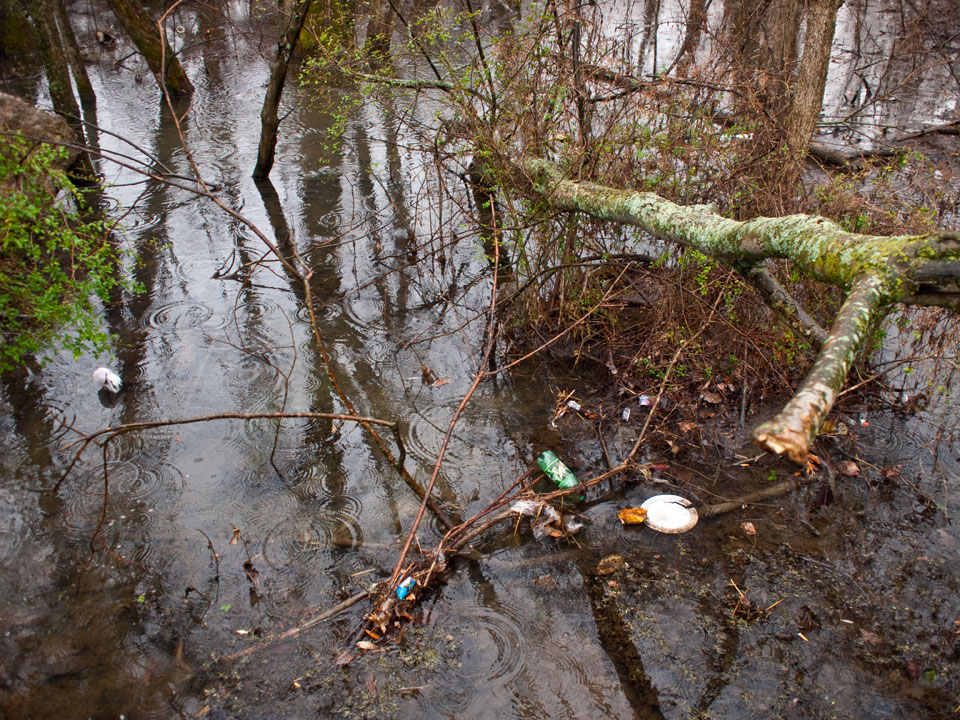 Rivers and stream beds collect a lot of trash, especially after heavy rains.