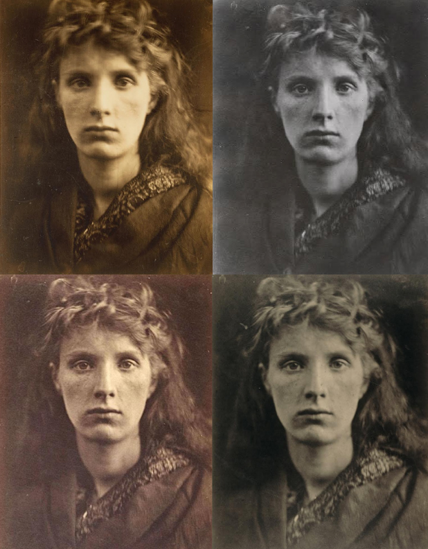 Four prints of the photograph from different museums - Above, left – right: J. Paul getty Museum, Museum of Modern Art, Metropolitan Museum of Art, and National Gallery of Art