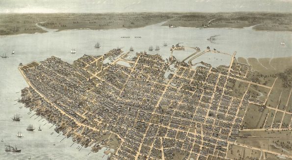 Bird's eye map of Charleston courtesy of the Library of Congress