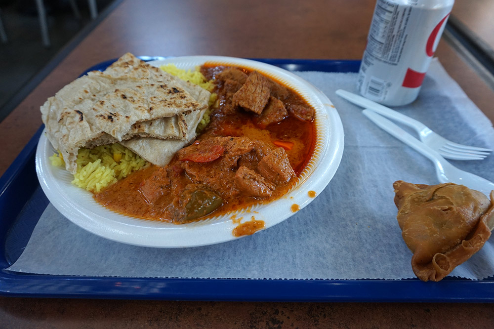 A plate from Swagruha Indian Restaurant in the Nashville Farmer's Market