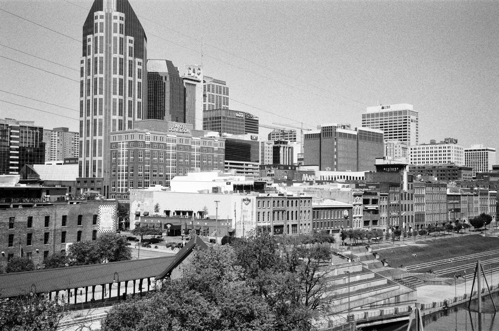 Downtown Nashville seen from the Shelby Street Pedestrian Bridge, now called the John Seigenthaler Pedestrian Bridge