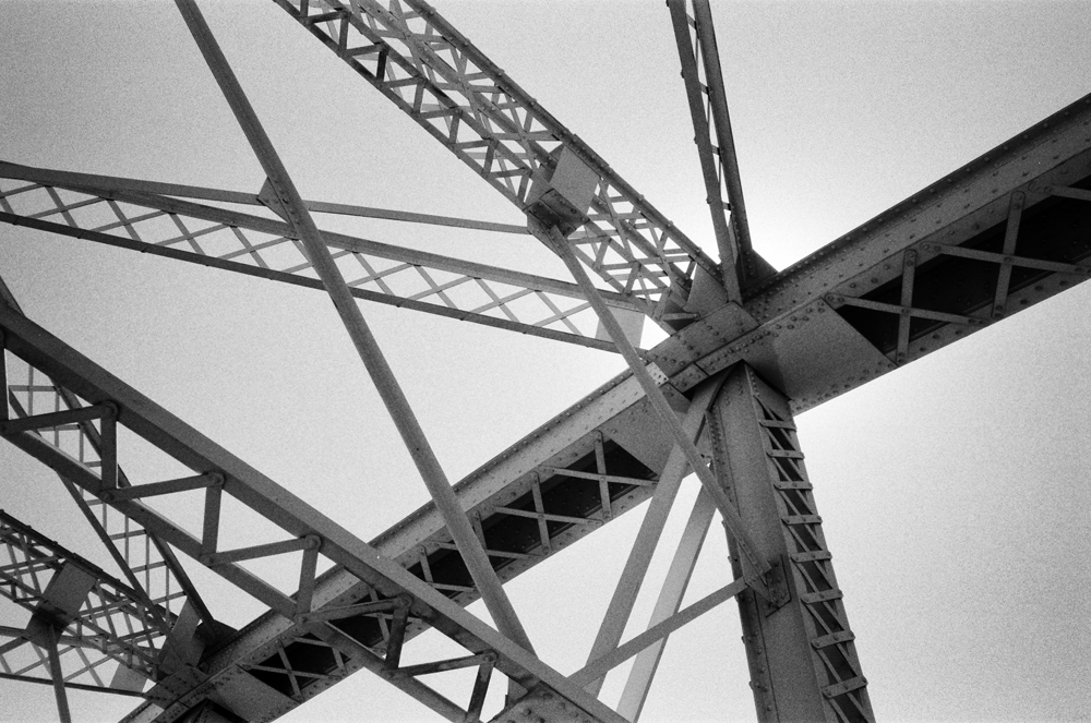 The trusses of the Shelby Street Bridge over the Cumberland River in Nashville