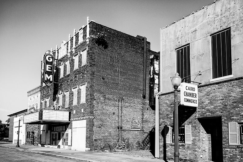 Gem Theatre in Cairo Illinois, photographed in black and white by Keith Dotson