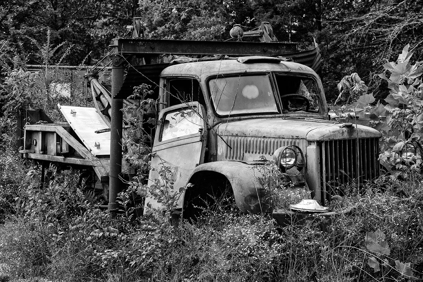 This old tow truck has seen much better days.