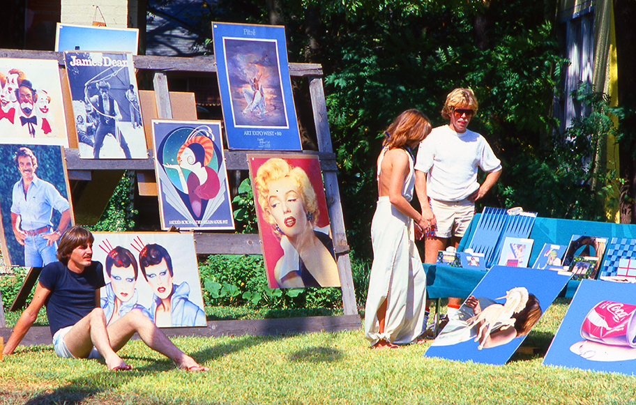 Art seller on a lawn in the early 80s at the Westheimer Street Festival in Houston, shot on slide film by Keith Dotson. All rights reserved.