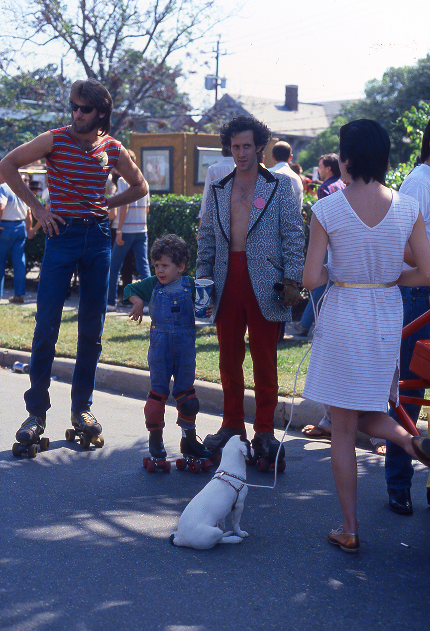 Roller skaters seen at Westheimer Street Festival in Houston, early 1980s, shot on slide film by Keith Dotson. All rights reserved.
