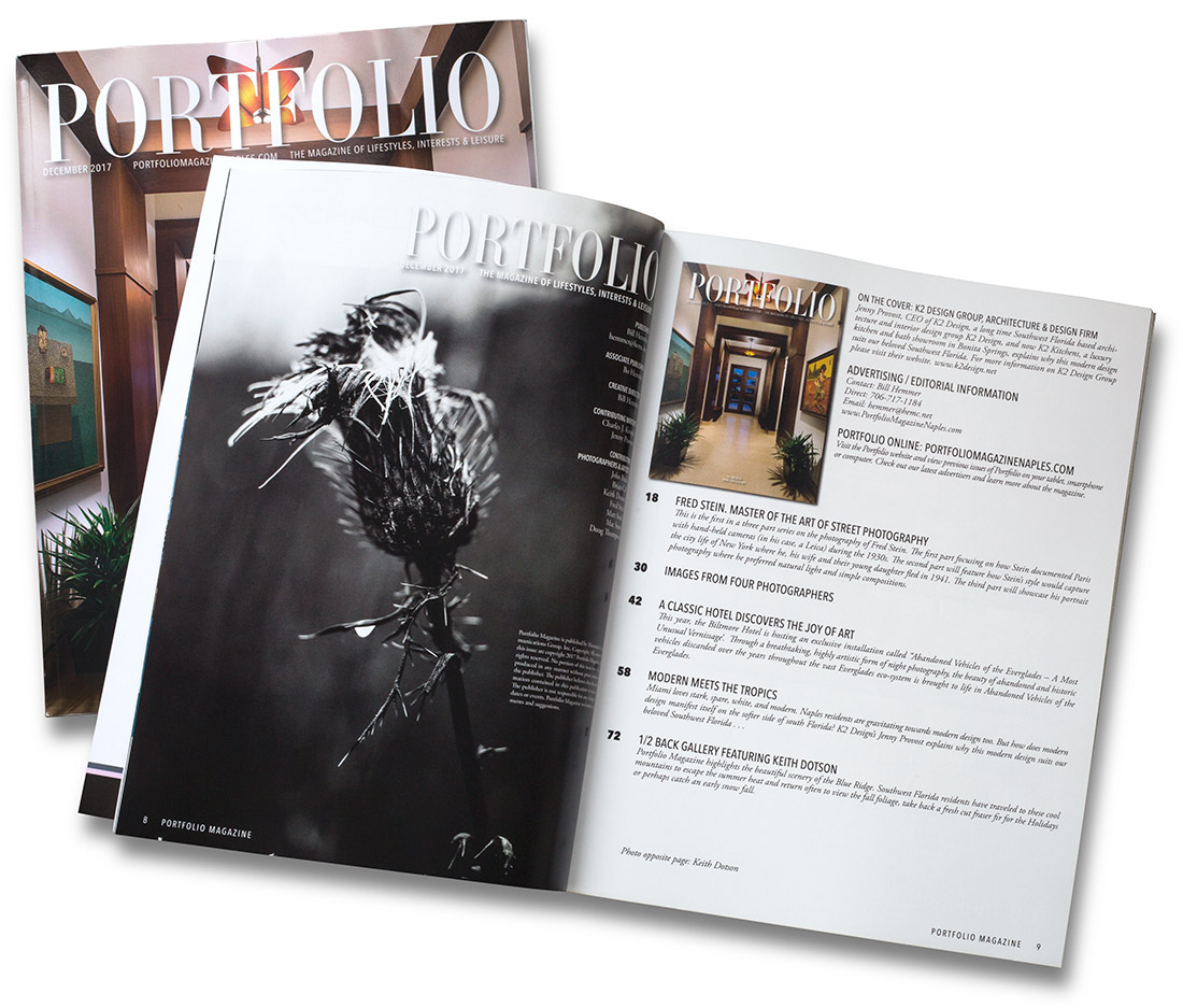 Portfolio Magazine Naples December 2017, featuring the photographs of Keith Dotson