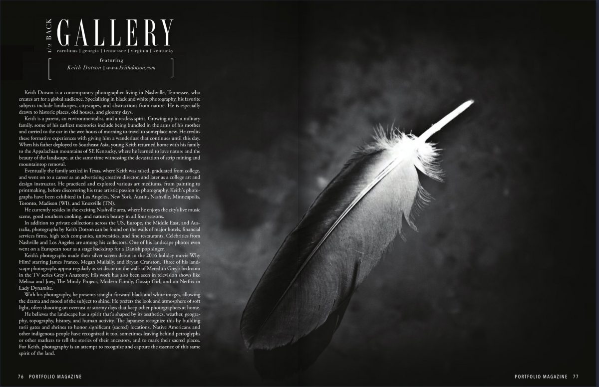 A spread from Portfolio Magazine Naples, featuring my photograph of a feather floating in a dark pool.