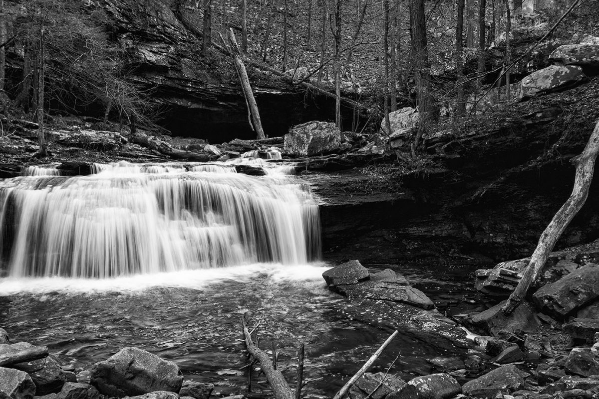 Waterfalls on Daniel Creek, in Cloudland Canyon, a black and white photograph by Keith Dotson.