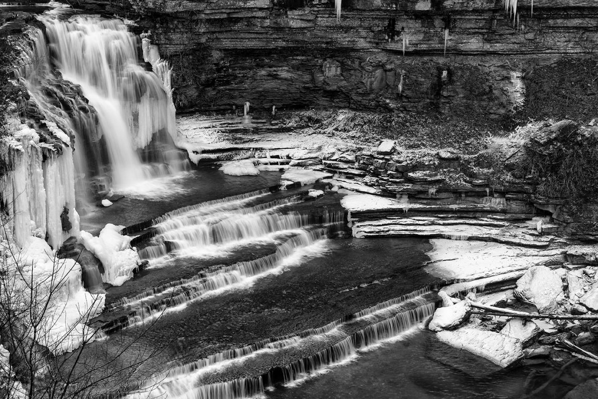 Cummins Falls in winter, with ice and snow