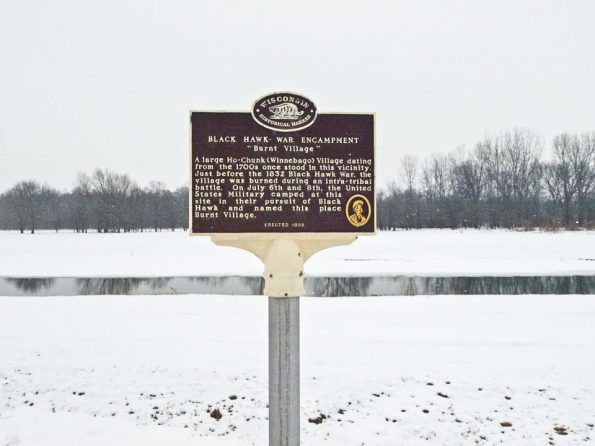 The Wisconsin historical marker identifying the site of the former Ho-Chunk village, which was destroyed nearly 200 years ago.