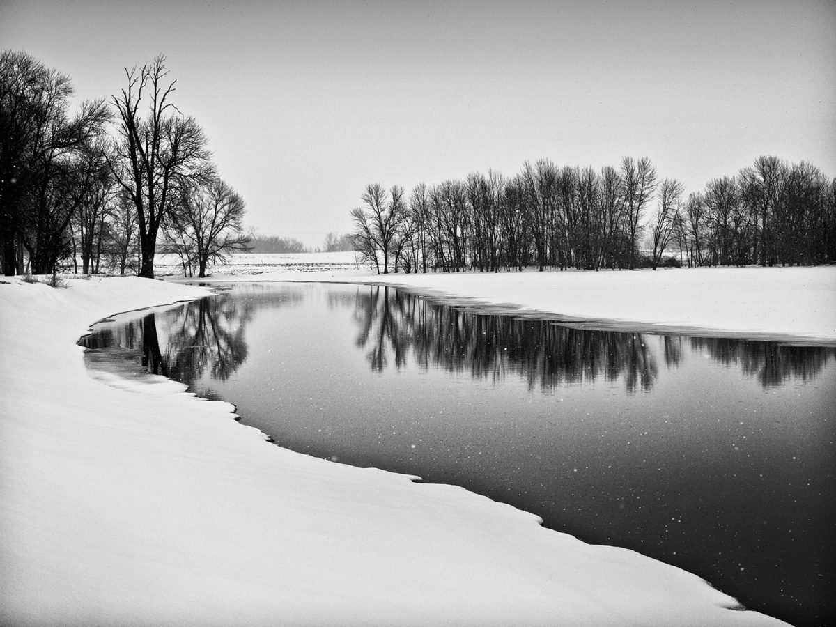 Site of the Burnt Village, black and white photograph by Keith Dotson. Looking at this placid scene blanketed in snow, it's hard to imagine it was once a battlefield. Click to buy a print.