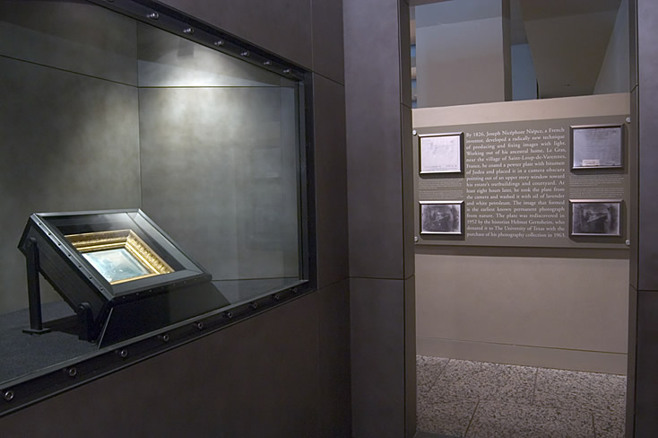 World's first photograph shown in it's permanent display window. Photo courtesy of Harry Ransom Center.
