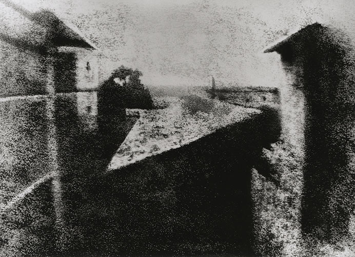 First photograph, View from the Window at Le Gras (Retouched), Joseph Nicéphore Niépce, ca. 1826 Gernsheim Collection, Harry Ransom Center.