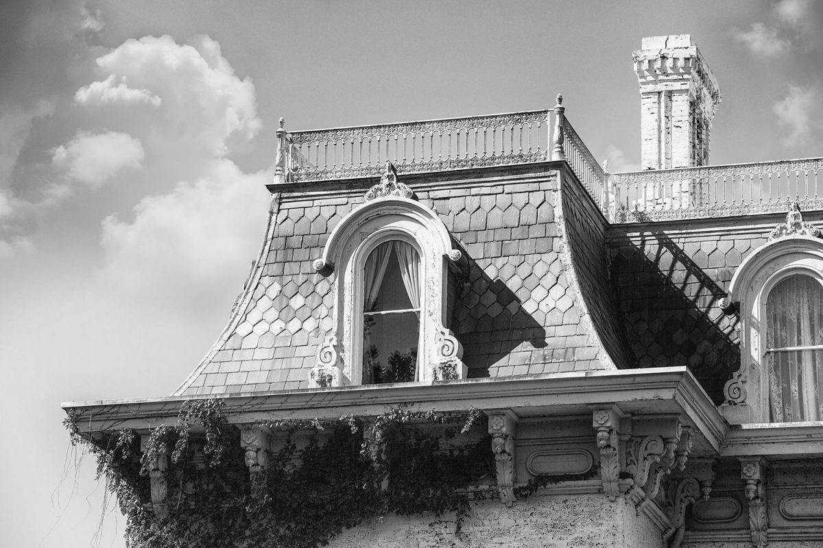 Detail photograph of the Riverlore Mansion roofline