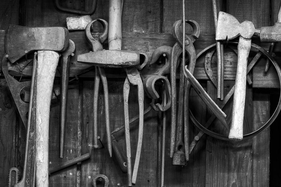 Blacksmith tools. Black and white photograph by Keith Dotson.