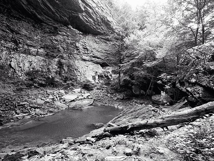 The pool below Ozone Falls, Tennessee. Black and white photograph by Keith Dotson.