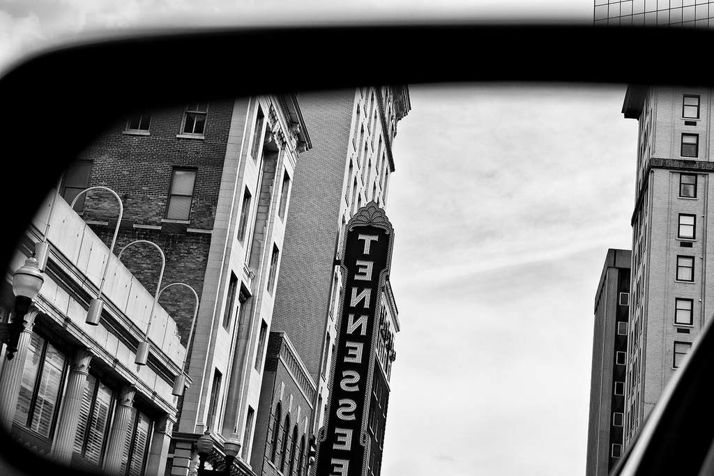 Black and white photograph of the Tennessee Theatre in Knoxville.