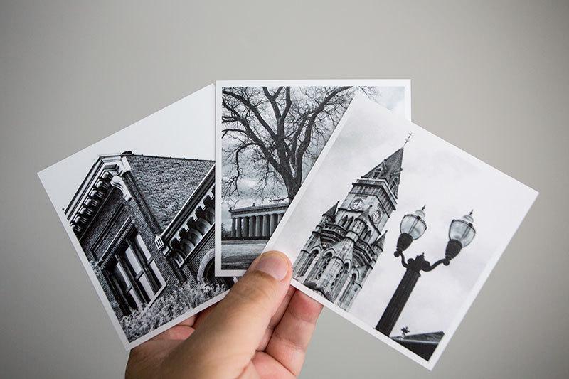 "Set of six photos of Nashville, each measure 4"" x 4"" square."