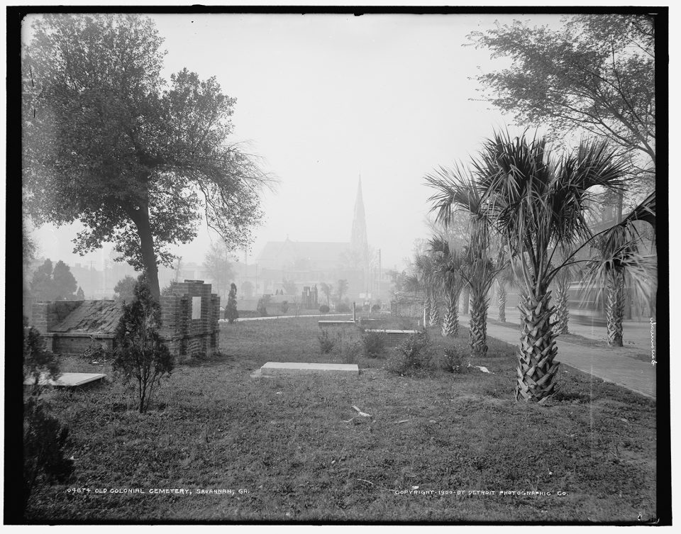 Old Colonial Cemetery, Savannah, GA. Fine art print from vintage image.