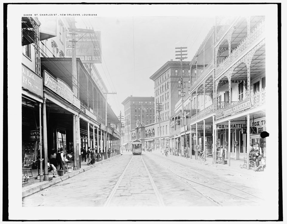 St. Charles Ave, New Orleans, Louisiana. Fine art print from vintage photograph.