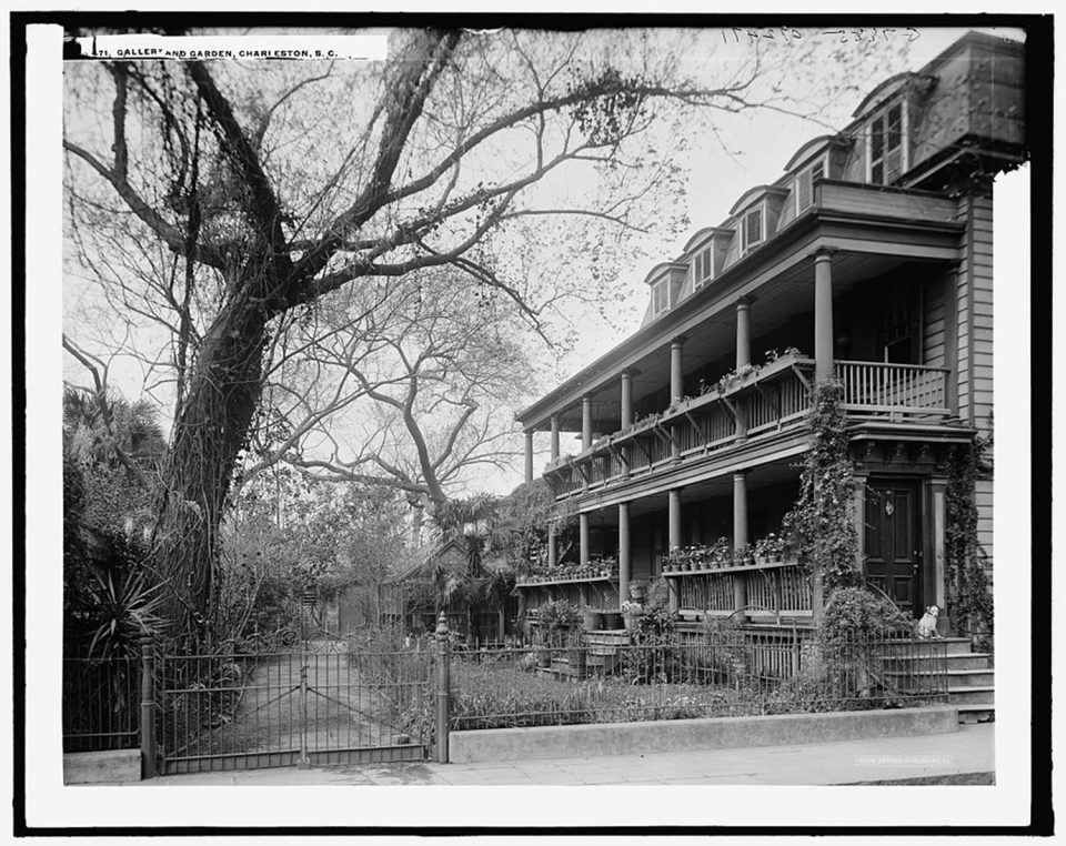 Gallery and garden, [35 Legare Street], Charleston, S.C. Fine art print from vintage image.