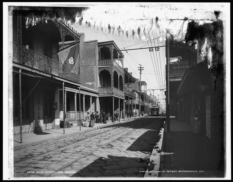 Royal Street, New Orleans, fine art print from a vintage photo.