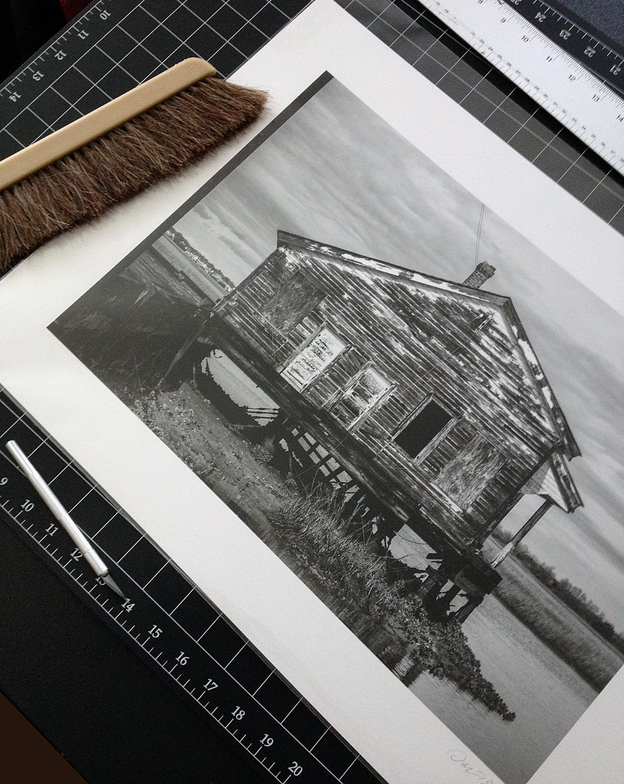 I found this abandoned old house at the end of a collapsing pier near Charleston, South Carolina. Printed on 100% cotton fine art paper. Wilhelm Imaging Research has rated this type of black and white print to be archival up to 400 years. Click to buy a print.