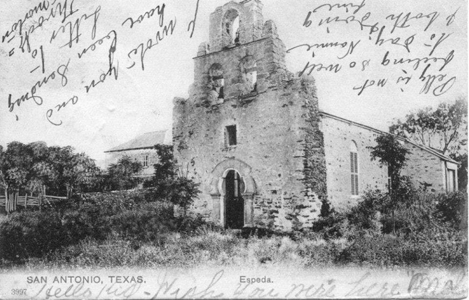 Historic postcard of Mission Espada in Sa n Antonio.