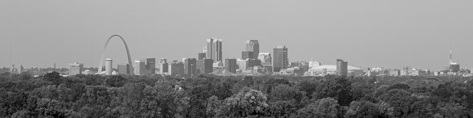 Panoramic View of Downtown St. Louis: Black and White Photograph by Keith Dotson. Click to buy a fine art print.