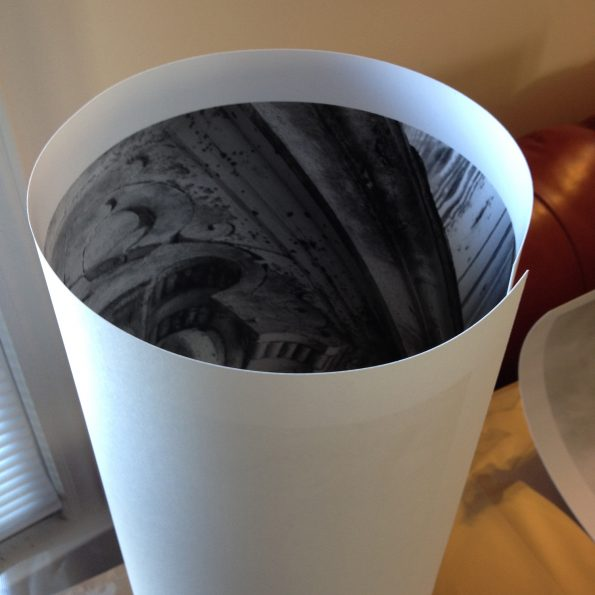 A rolled-up silver gelatin print. Notice the thickness of the paper.