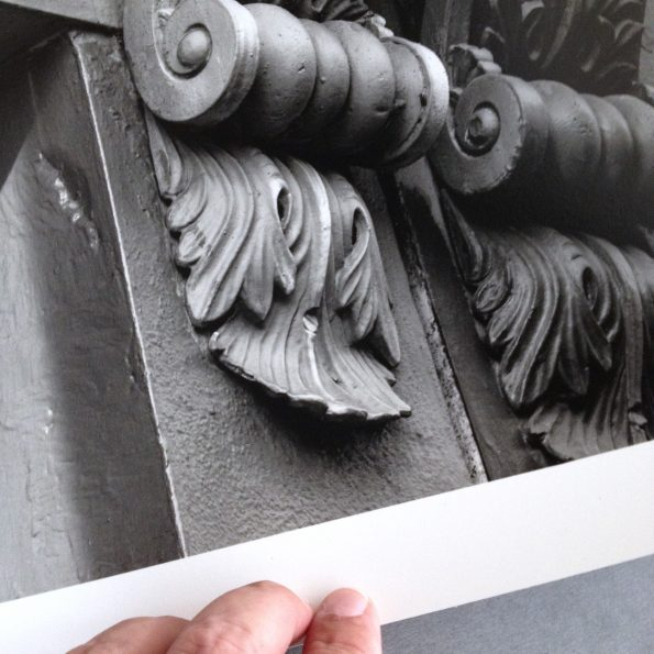 Detail photograph of architectural details, printed on silver gelatin baryta surface paper