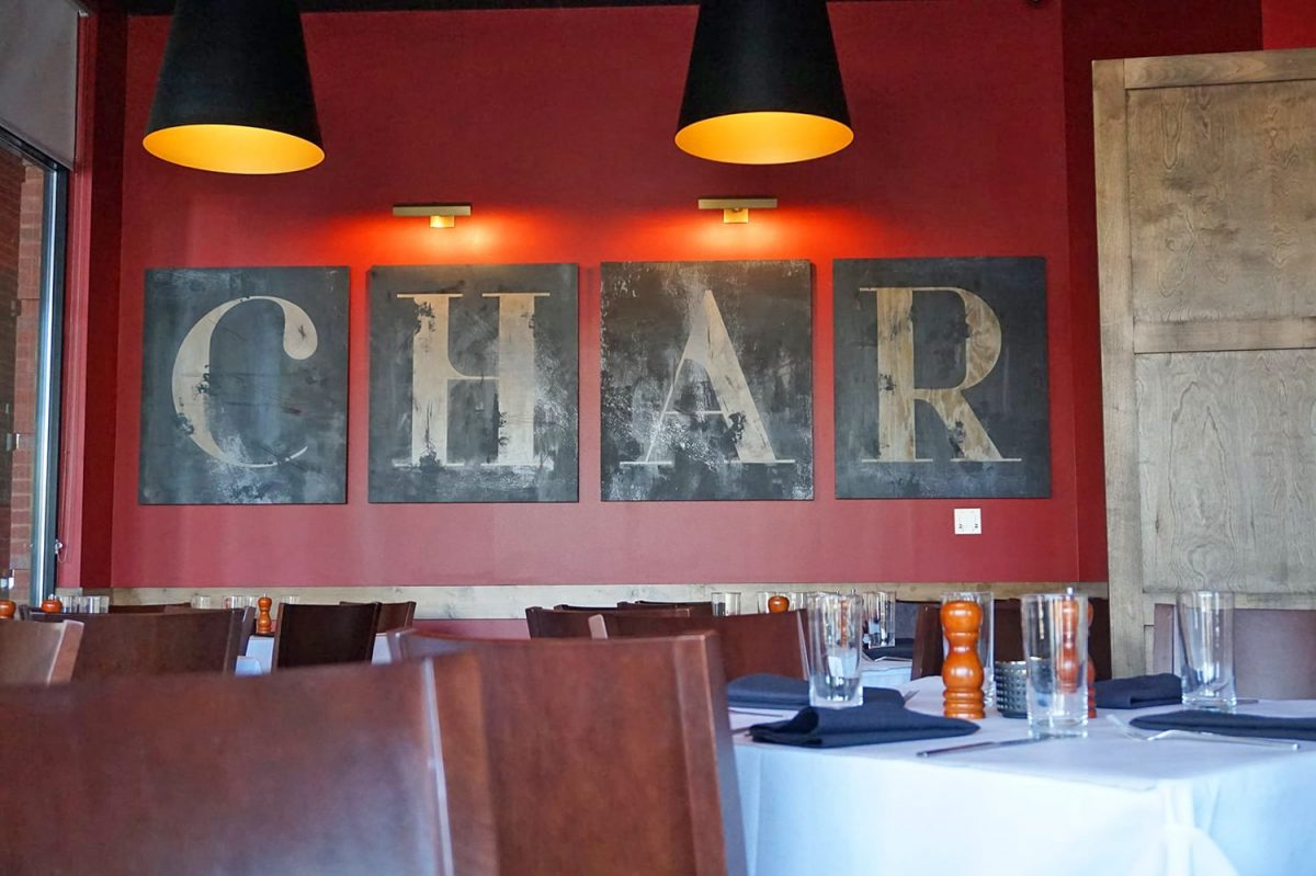 Interior photograph of the dining room at Char Restaurant Nashville
